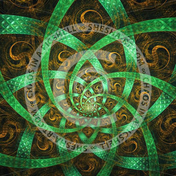 Symmetrical green flower - shesha_rt